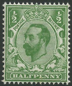 SG321 ½d Pale Green Type I Die A Crown Watermark Unmounted Mint (King George V Downey Head Stamps)